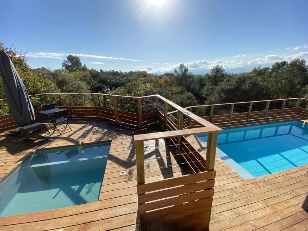 Double piscine bois hors-sol
